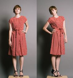 GUY LAROCHE Vintage 1980s Red Clover Print Dress #vintage #guylaroche #paris #vintagedress