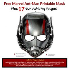 Looking for a Antman Printable Mask for an your next Marvel party or just for play time. Here is a Free Marvel Ant-Man Printable Mask with 17 free Marvel Antman printable activity sheets