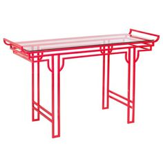 Emissary Home and Garden Altar Table Console Table with Glass. Glass Furniture, Table Furniture, Home Furniture, Oriental Furniture, Furniture Design, Chinoiserie, Traditional Console Tables, Lounge, My Living Room
