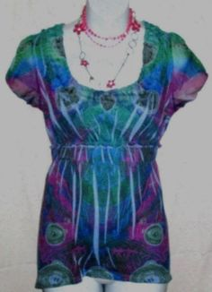 ONE WORLD KNIT TOP GREEN BLUE MAGENTA SHEER FLUTTER SLEEVES AND NECKLINE SIZE M #ONEWORLD #KnitTop