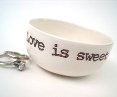 Short / wide 2.5 - 3 ounce dish  Customize 1-5 words inside and 1-5 words outside  Handmade, takes 1-4 weeks (**1-4 weeks wholesale)  Add gift wrap