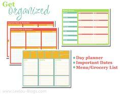 menu/grocery list/day planner printables