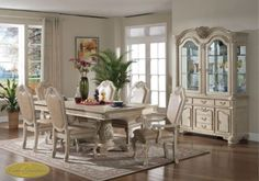 8pc-Veronica-Antique-White-Traditional-Dining-Room-Set