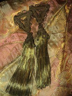 antique tassels | Rare Ex-Large Antique Bullion Tassels Lampshade French c 1900 Metallic ...