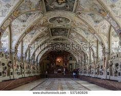 MUNICH, GERMANY - 05 MAY 2016: Interior of the Antiquarium in the Munich Residence. The lunettes and window reveals are decorated with 102 views of towns, palaces in what was then the Duchy of Bavaria