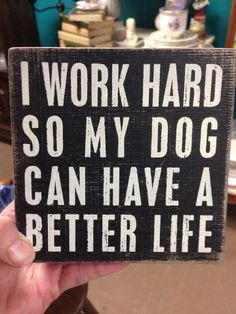We tell our dogs this all the time... that we work so they can have a better life.