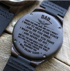 Let your Dad know how much you love him with this unique handcrafted timepiece. The beautiful message carefully engraved on the back of the watch will last forever.