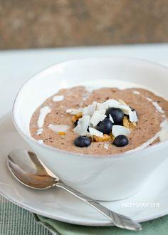grain-free porridge w/ bananas, coconut milk, almond flour, flax meal, cinnamon, ginger, cloves, nutmeg, maple syrup/honey & berries, coconut flakes, nuts, seeds, etc. to top