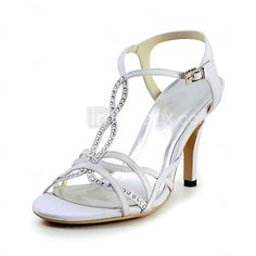 Women's Spring / Summer Slingback Satin / Stretch Satin Wedding Stiletto Heel Rhinestone / Buckle Blue / Red / Ivory / White 2016 - $31.49