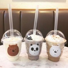 We Bare Bears Smoothie Cute Food, Yummy Food, Glace Fruit, We Bare Bears Wallpapers, We Bear, Bear Wallpaper, Bear Party, Bubble Tea, Milk Tea