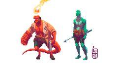 Hellboy the pixel guy by Igor Wolski, via Behance