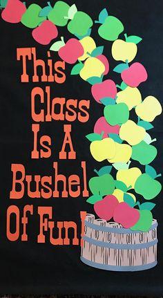 Apple Bulletin Board Apple Bulletin Board Ideas, Toddler Bulletin Boards, September Bulletin Boards, Welcome Bulletin Boards, Toddler Classroom, Classroom Bulletin Boards, Classroom Door, Preschool Apple Theme, Preschool Door