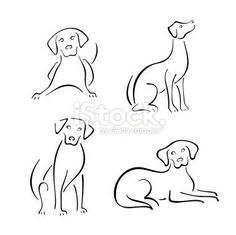stylized dogs on a white background. dog line drawing Art And Illustration, Design Set, Dog Design, Dog Tattoos, Tatoos, Dog Line Drawing, Dog Drawing Simple, Dog Line Art, Animal Drawings