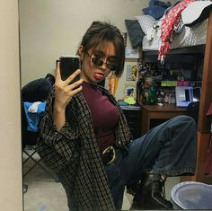 Flannel Outfits, Grunge Outfits, Cute Outfits, Fashion Outfits, Hijab Fashion Inspiration, Style Inspiration, Asian Cute, Mixed Girls, Girl Photography Poses