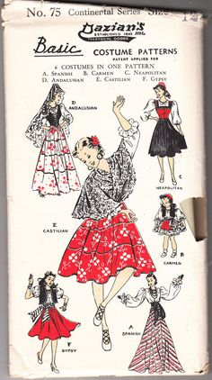 Vintage Dazian's No 75 6 Diffrent Masquerade Costume Patterns Size 12 Gypsy #Dazians