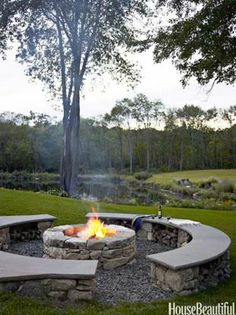 This but only one side bench other side left open for chairs Outdoor Spaces, Outdoor Living, Outdoor Seating, Backyard Seating, Outdoor Kitchens, Fire Pit Seating, Rustic Outdoor, Rustic Patio, Open Kitchens