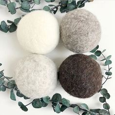 Dryer Balls are an eco friendly laundry alternative that last for hundreds of laundry loadsHere's how they work: Felted Soap, Wet Felting, Needle Felting, Laundry Alternative, Dishwasher Tablets, Dryer Balls, Hens And Chicks, Felt Ball, Fabric Softener