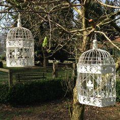 Schmuck-Käfig - Vogelkäfig, 2 Käfige als ideale Nostalgie Dekoration Blumenampel