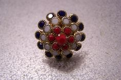 Vintage Red White and Blue 3D Adjustable Ring by JewelsAndMyGirls3, $12.00