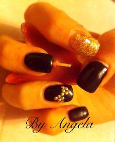 #black #gold #glitter #bow #handmade #gel #nail #art
