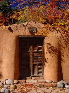 Fall, the Southwest, Adobe, Rustic Door. Perfection.