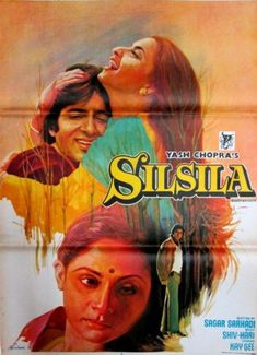 Silsila (1981) Amitabh Bachchan, Classic, Indian, Hand Painted, Bollywood, Hindi, Movies, Posters