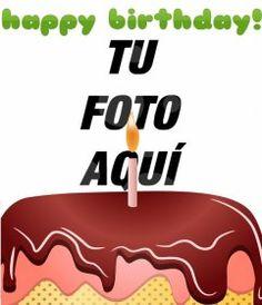 Postal de cumpleaños personalizable, consistente en un montaje que incluye en tu fotografía digitalizada un *happy birthday* en verde.