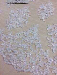Ivory beads lace fabric, Embroidered lace, French Lace, Wedding Lace, Bridal lace, White Lace, Veil lace, Lingerie Lace, BK61575CB_1 by ImperialLace on Etsy https://www.etsy.com/nz/listing/491605867/ivory-beads-lace-fabric-embroidered-lace
