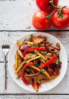 Seitan Saltado (Vegan Lomo Saltado) - the classic Peruvian stir-fry with potatoes is now vegan!