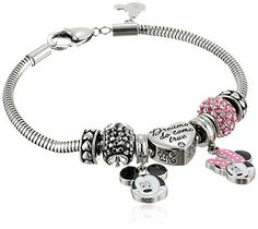 """Disney Girls' Stainless Steel Charm Bracelet, 7.5"""" - CHECK IT OUT @ http://www.finejewelry4u.com/jew/102497/150720"""