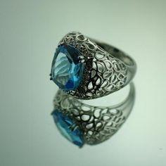 Bilkey & Co. Blue topaz, 18ct white gold and diamond filigree ring  http://www.facebook.com/BilkeyJewellers