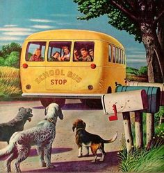 """Vintage Illustrations Giclee Print: """"School Bus,"""" September 1944 by Stevan Dohanos : - size: Giclee Print: """"School Bus,"""" September 1944 by Stevan Dohanos : Vintage Pictures, Vintage Images, Vintage Art, Retro Art, Vintage Prints, Painting Prints, Canvas Prints, Paintings, Saturday Evening Post"""