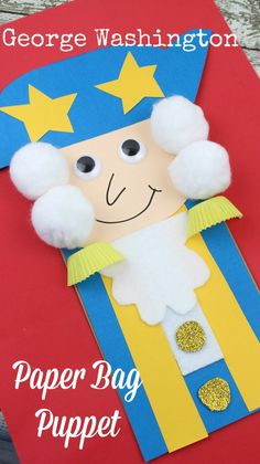 How CUTE is this George Washington paper bay puppet for kids. My preschool kids will LOVE this - and she has a complete step by step tutorial on how to make history come alive with this craft. Paper Bag Crafts, Craft Stick Crafts, Fun Crafts, Crafts For Kids, Craft Sticks, Preschool Crafts, Preschool Activities, Kindergarten Games, Preschool Christmas
