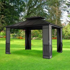 Sunjoy X Carlisle Gazebo Black Top I Would Want A Lighter Color And Some Mosquito Netting All The Way Around