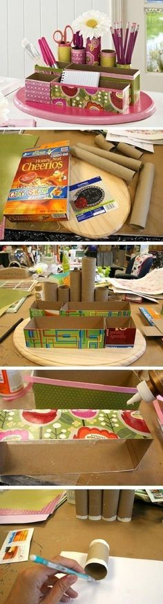 Don& throw those old paper rolls away! Here we have 40 amazing craft you and your kids can make using old paper rolls. These easy diy ideas are not only fun but also inexpensive since you already have the paper rolls to use! Desk Organization Diy, Diy Desk, Diy Organizer, Cereal Box Organizer, Organizing Tools, Pencil Organizer, Craft Desk, Fun Crafts, Diy And Crafts