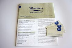 We proudly print the custom menus and business cards for Merridee's Breadbasket, a lovely local bakery and eatery in charming downtown Franklin, TN. With this job the design files were supplied to us in high resolution pdfs and printed in three spot colors, or PMS (Pantone Matching System) colors, on our offset lithography press.