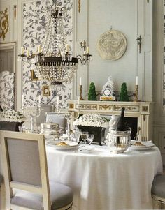 Lovely dining space. English French country traditional dining room.