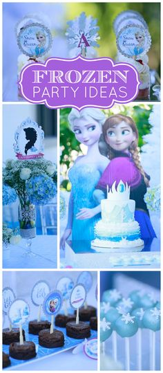 A glam Frozen girl birthday party with gorgeous cake pops, desserts and party decorations! See more party planning ideas at CatchMyParty.com!