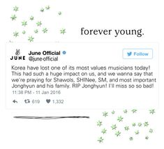 """""""- twitter - June tweet about Jonghyun's death"""" by official-june ❤ liked on Polyvore featuring art, twitter, shinee, june and kimjonghyun"""