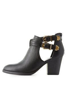 4fa90cb3ac76e Buckled Cut-Out Ankle Booties Chaussures Confortables
