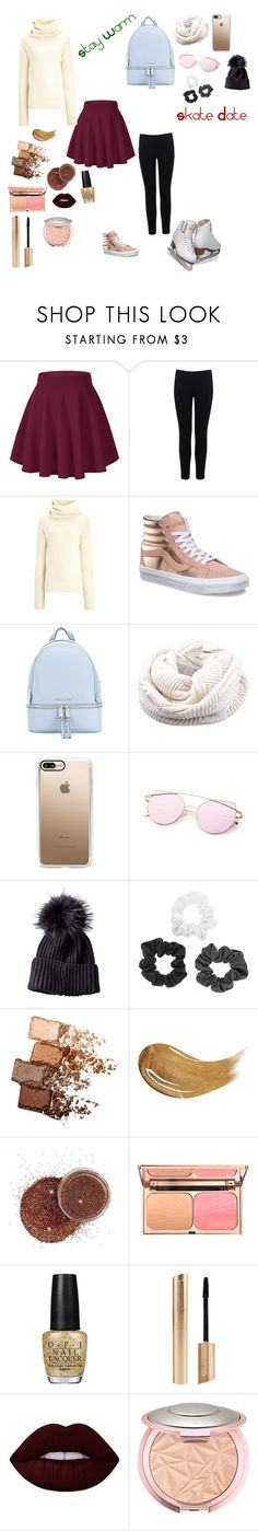 """""""Skate date!"""" by m14pineapples ❤ liked on Polyvore featuring Warehouse, Joseph, Vans, MICHAEL Michael Kors, Casetify, Maybelline, Too Faced Cosmetics, OPI, Lime Crime and iceskatingoutfit"""