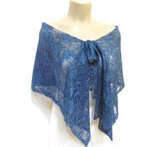 Lace Capelet- Lace Scarf- Free Shipping- Lace Shawl- Lace Shrug- Blue- Costume Design- French Lace Shawl- Laced Accessories- Laced Shawl