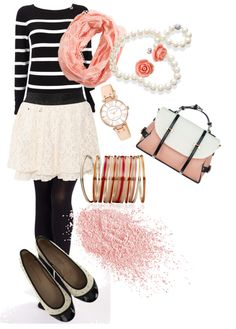 """Peach Accents"" by bernzz on Polyvore"