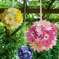 Esferas de flores de papel  bodas quinceañera primavera o verano aire libre o interior  Paper flowers  wedding quinceanera celebrations Events  in spring or summer outdoor &indoors