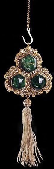 A pendant from the throne of Ahmed I (1608-1617).  Ottoman, early 17th century.  Gold, emeralds, diamonds, rubies, pearls, enamel.  (Topkapı Palace Museum, Istanbul).