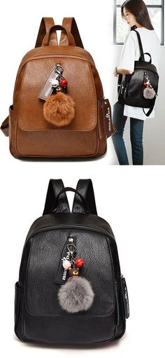 Retro Large Lady Bag Leisure Ball Decor Brown Soft PU Student Backpack 5aff7a4ec60b5