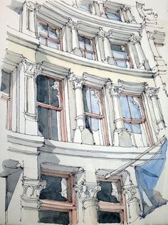 James Anzalone Soho ink and watercolor sketch Sketch Painting, Watercolor Sketch, Drawing Sketches, Art Drawings, Sketch Art, Watercolor Paintings, Building Illustration, Illustration Art, Illustrations