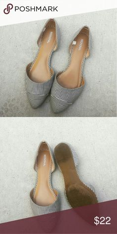 Darling Pointed Toe Striped Flats Darling darling pointed toe flats. Grey and white stripe. Size 8. Selling for my sister in law- wish these fit me and I'd keep, they are a must have! Purchased at target. Buckle Shoes Flats & Loafers