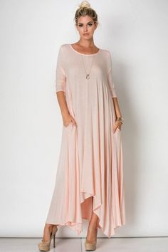 3/4Sleeve Drapey Maxi Dress 95%RAYON 5%SPANDEX Made in the USA Dress Runs True to Size