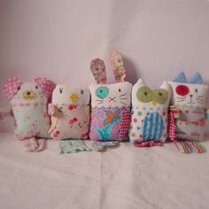 I made these new softies the other day for a client. Of course I made some extras for my shop! New designs are the owl and birdie.